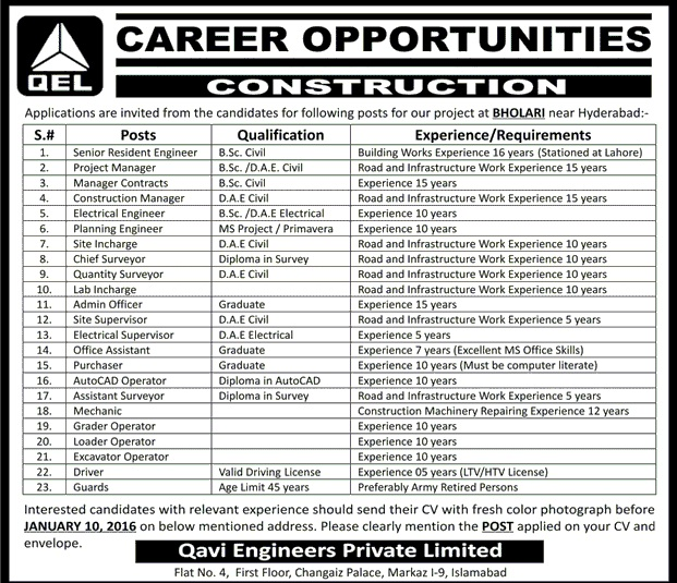 Engineers , DAE Jobs in Qavi Engineers Private Limited Islamabad