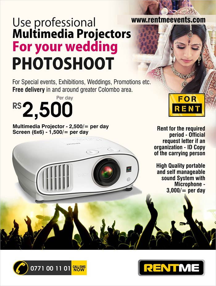 RENTME is for corporate events, seminars, launches, wedding and promotional activities. We have wide range of latest very Multimedia equipments including multimedia projectors, Laptops, Personal Computers, LED TVs, Screens etc. Also we have wide range of office equipments including Photocopiers, Color Printers, Laser Fax machines etc for rent. We can rent event promotional equipments like Pop-up Stand, X-Stand, Backdrops etc.  Contact us for Short term and Long term rentals.  For more information  info@rentmeevents.com