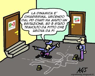 civati, fitto, pd, forza italia, satira, vignetta