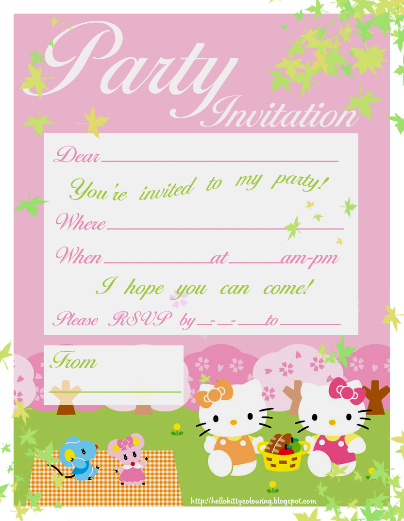 HELLO KITTY COLORING PAGES – Invite to a Party