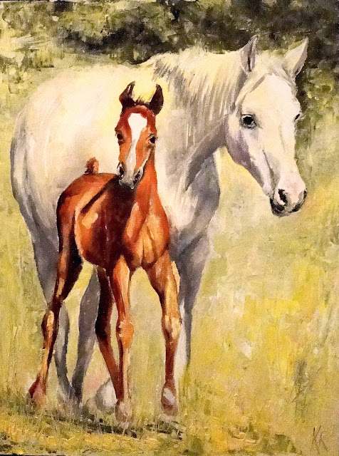 oil painting of mare and foal in sunshine