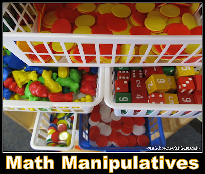 photo of: Math Manipulatives: Housed together on Math shelf in bins + baskets (from article on classroom organization)