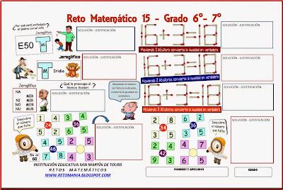 Retos matemáticos, Desafíos matemáticos, Problemas matemáticos, Problemas de Ingenio, Problemas para pensar, Jeroglíficos, Descubre el número, El número que falta, Jugando con Fósforos, Jugando con Palillos