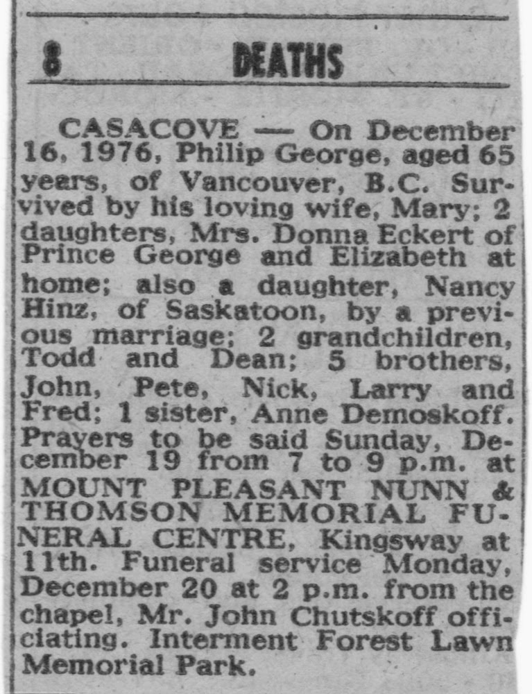 Obituary of Philip Casacove