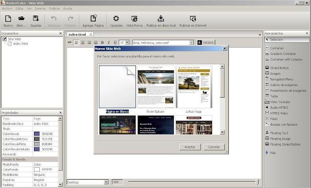 Como usar RocketCake para crear una nueva página Web - Solo Nuevas