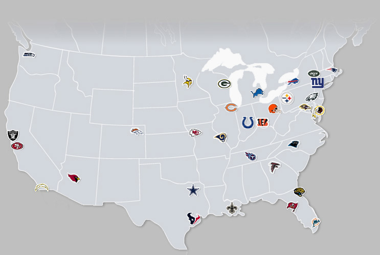 Wordsmithing Pantagruel Depiction Of NFL Other Pro Team - Nfl team us map
