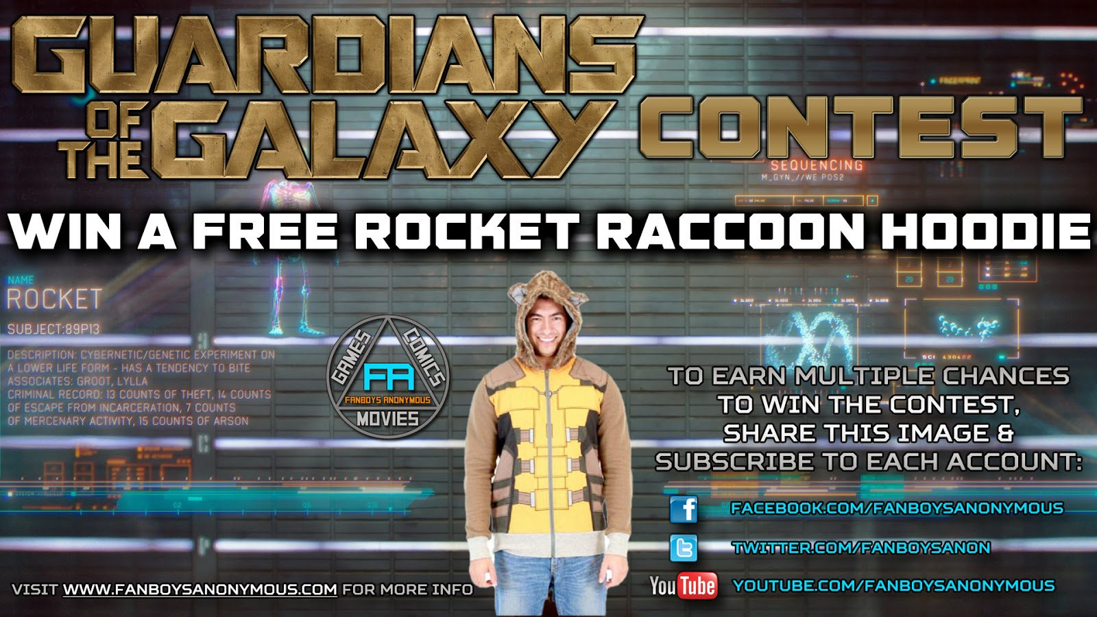 win a free Rocket Raccoon hoodie by subscribing to Fanboys Anonymous