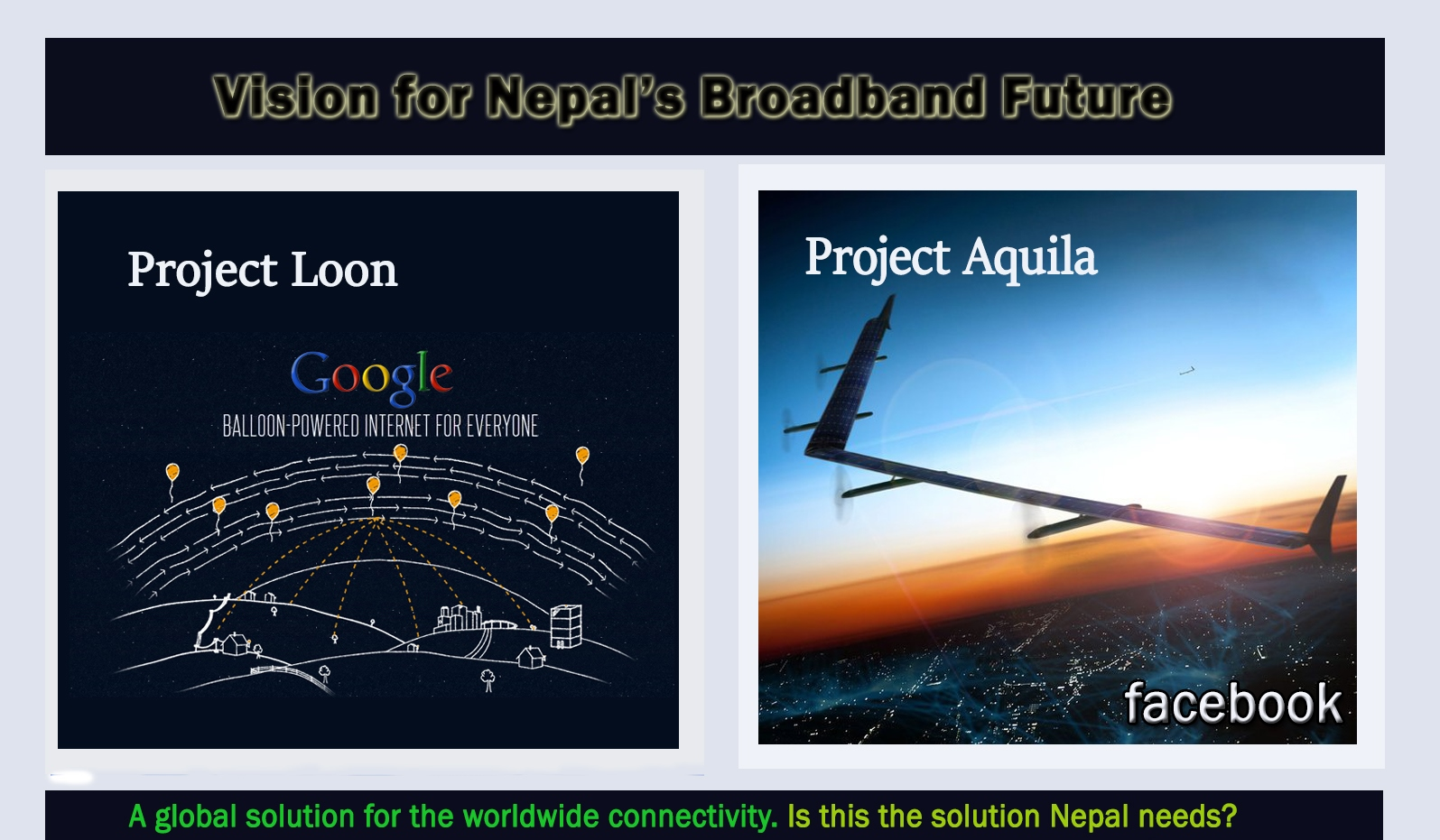 Nepal's Broadband Future : Google's Project Loon and Facebook's Aquila