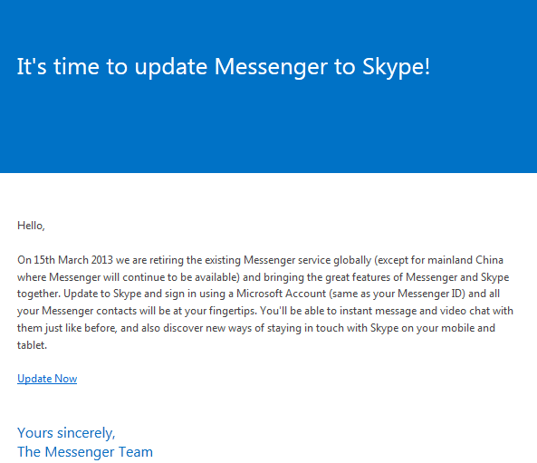 Email sent by the messenger team to upgrade to skype