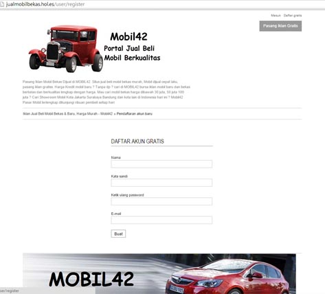 Form Pendaftaran Member Di jualbelimobil.hol.es