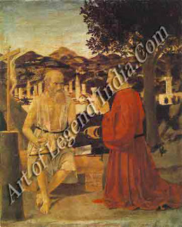 St Jerome and a Donor (c.1450-55) As in the Baptism of Christ, Piero's home town, Sansepolcro, is clearly visible.