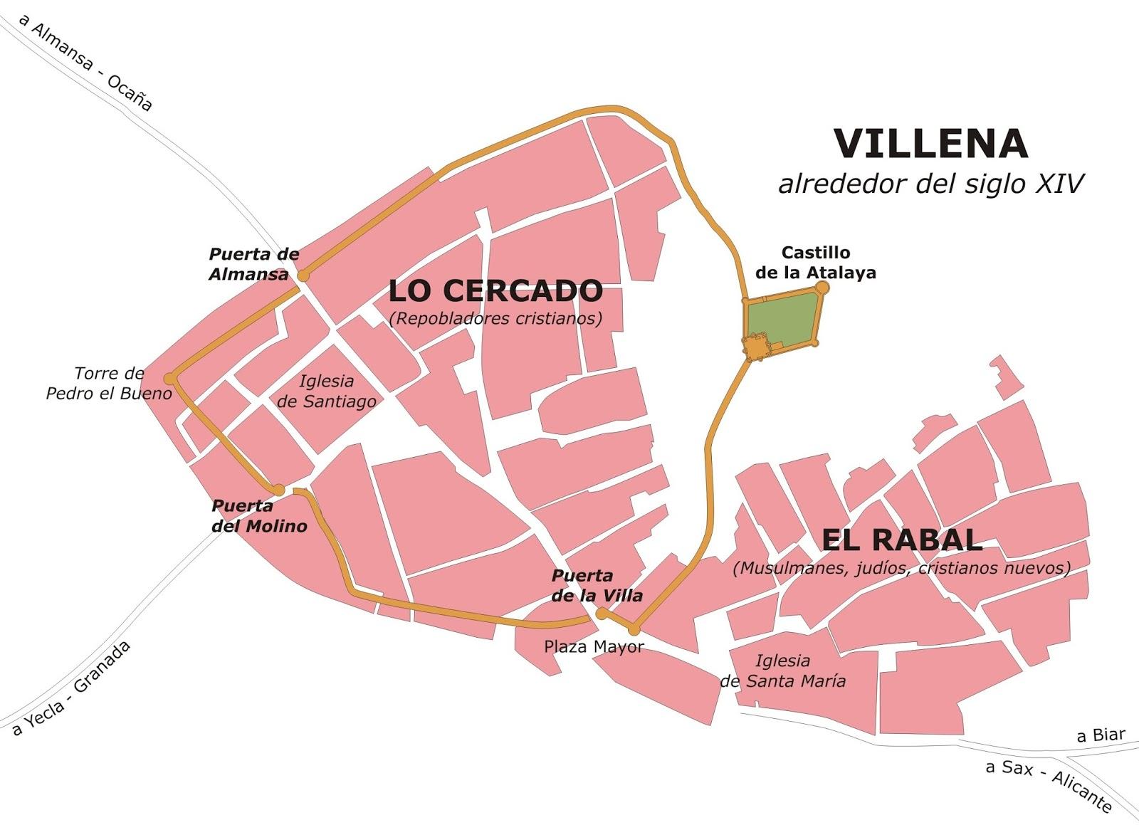 Gu a de los castillos torres y fortificaciones de alicante muralla urbana de villena alicante - Plano de almansa ...