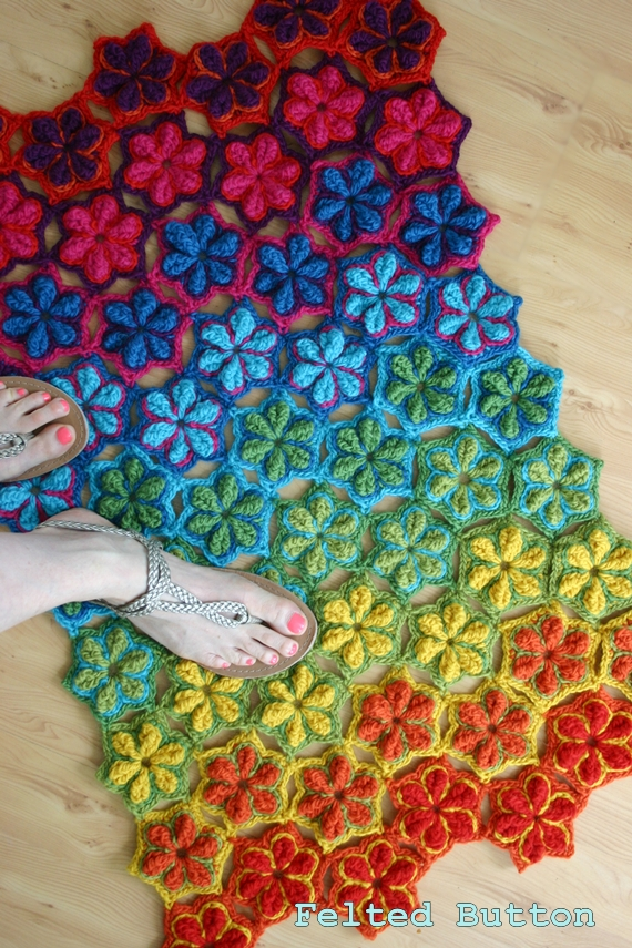 Felted Button Colorful Crochet Patterns Star Fruit Rug