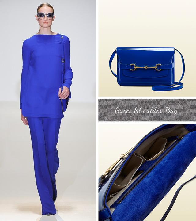 Cobalt blue Patent Leather shoulder bag from Gucci Spring Summer 2013