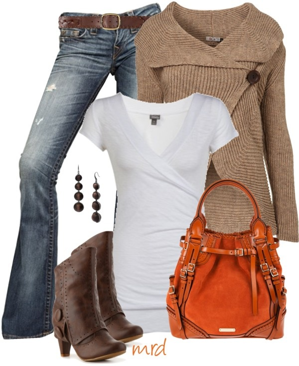 Adorable fall outfits with wrap neck sweater