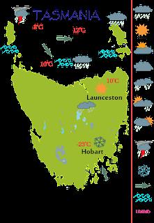 TASMANIA WEATHER CHART MAP