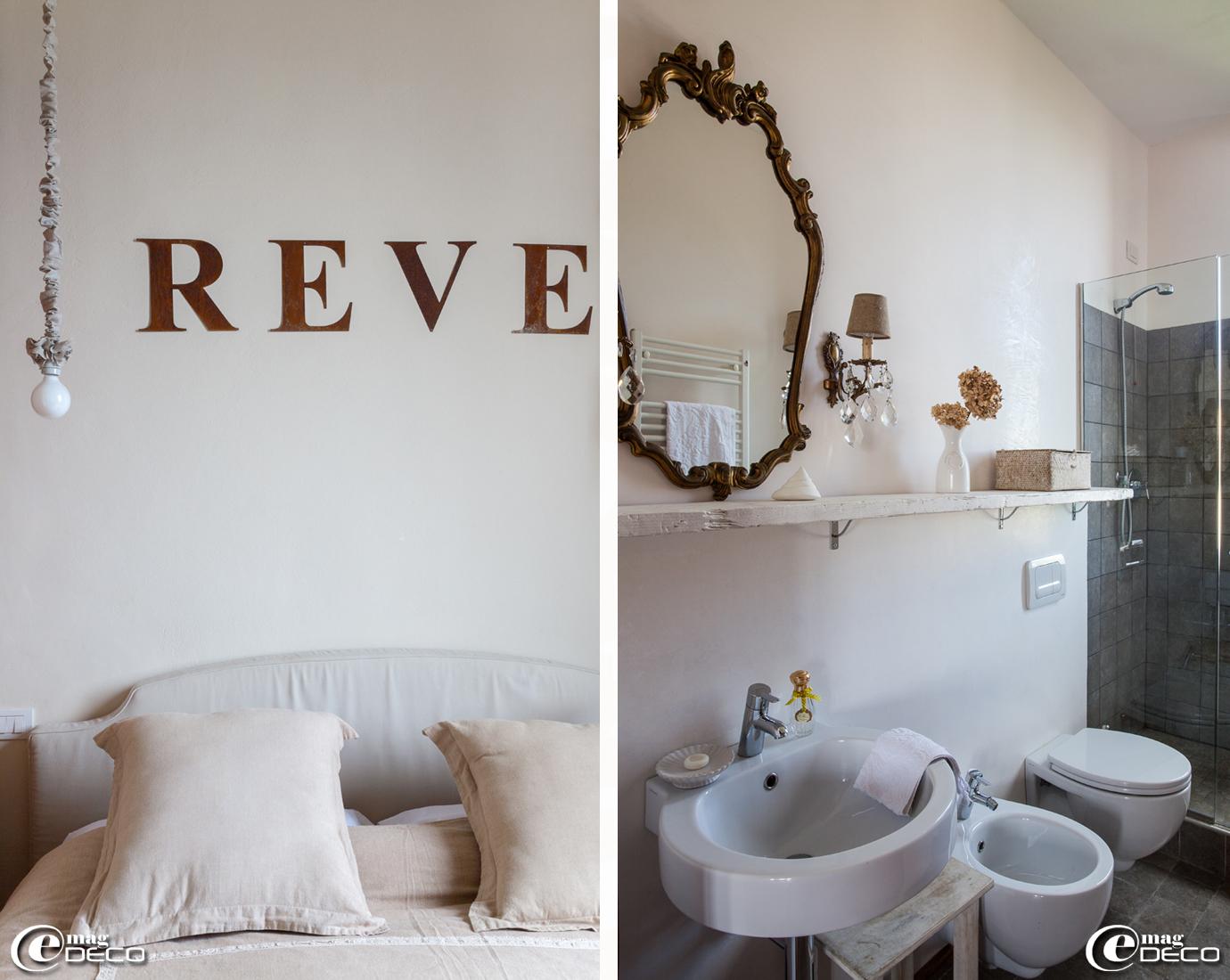 Dans la Suite Memorie de la maison d'hôtes de charme 'Valdirose' près de Florence, tête de lit en lin 'Frauflex' et lettres 'Rêve' en métal rouillé, création 'Un esprit en plus'