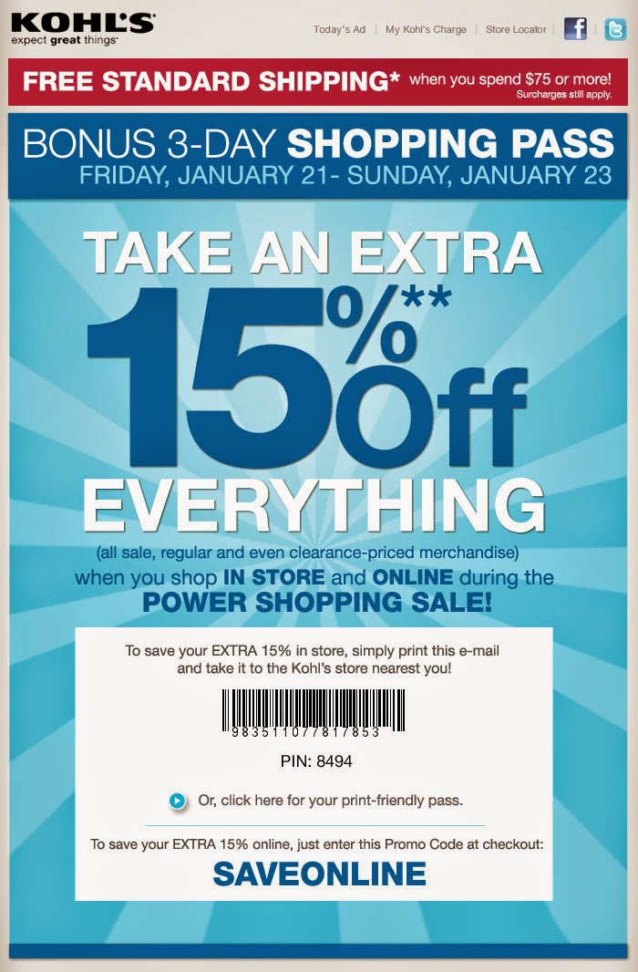 This is a graphic of Selective Kohls Printable Coupon 15