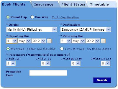 Philippine Airlines online booking form
