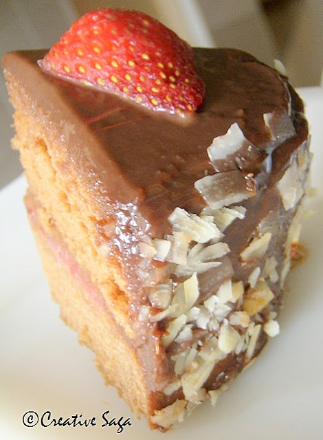 chocolate sponge with strawberry filling and chocolate cream