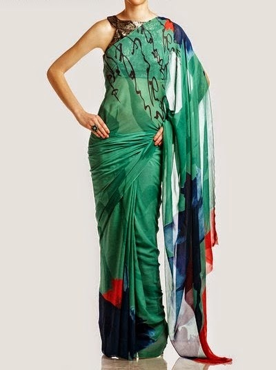 Multicolored Printed Chiffon Saree Collection