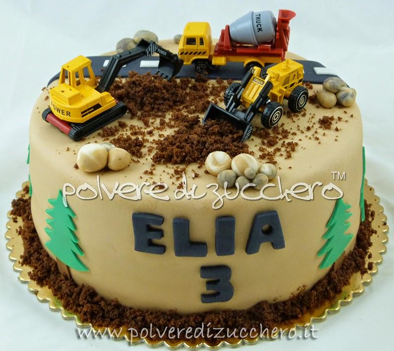 Cake Design Lavoro Roma : Torta cantiere con: ruspa e mezzi di lavoro Polvere di ...