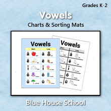 Blue House School - Vowels - Charts & Sorting Mats