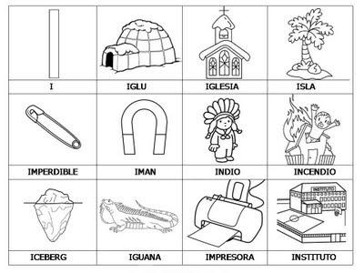 Laminas con dibujos para aprender palabras y colorear con letra: I ...