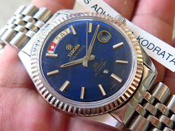 TITONI COSMO KING 14k PRESIDENT MODEL SUNBURST BLUE DIAL - 25 JEWELS ROTOMATIC