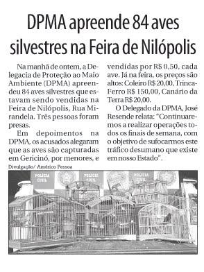 Policia Civil sufoca trafico de animais silvestres.