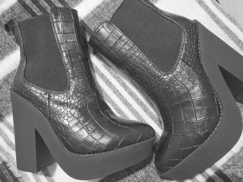 Platform Boots Snake Leather Primark