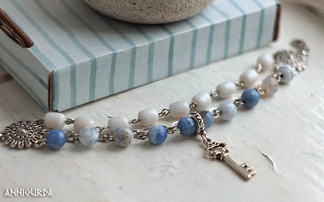 украшения, бижутерия, браслеты, морской, белый, голубой