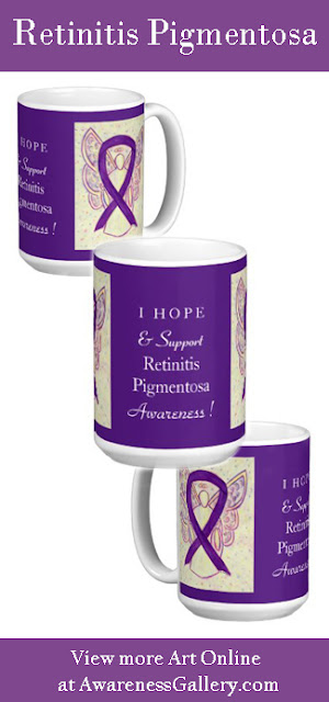 Retinitis Pigmentosa Purple Awareness  Ribbon Angel Gift Custom Coffee Mugs
