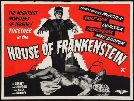 free printable, printable, classic posters, free download, graphic design, movies, retro prints, theater, vintage, vintage posters, House of Frankenstein - Vintage Horror Movie Poster