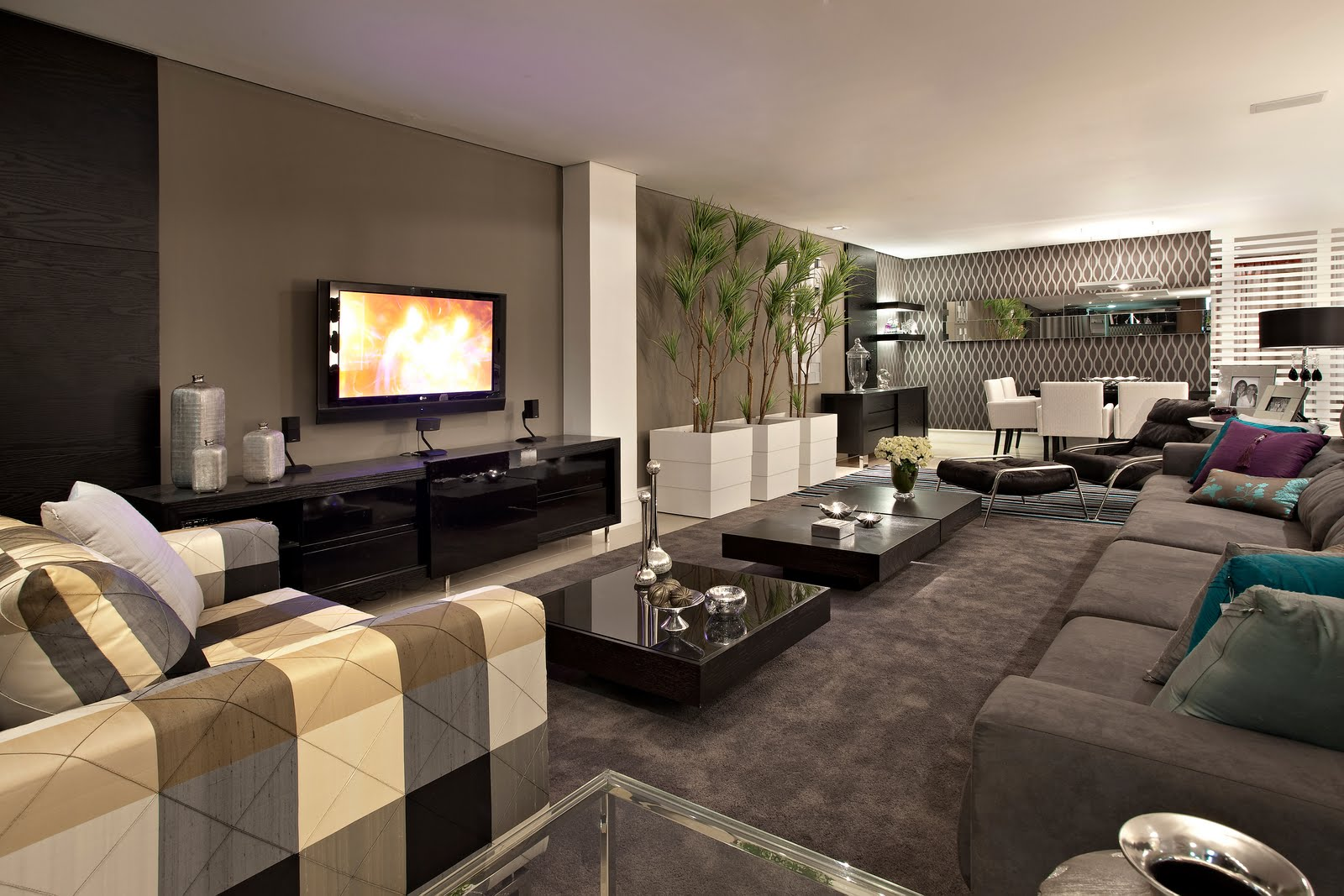 #8C6C3F XADREZ NA DECORAÇÃO Papo de Design 1600x1067 píxeis em Como Decorar Uma Sala De Tv