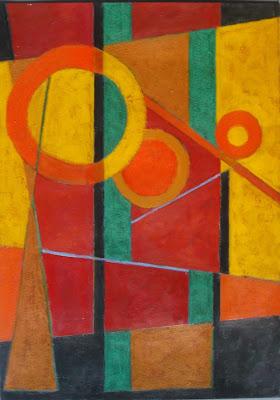 Pintura abstracta sobre cartón técnica acrílica. Composición geometrica realizada por Ima Perez-Albert