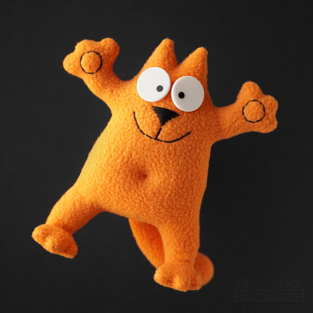Котик Саймон с гнущимися лапками! Игрушка на проволочном каркасе. Рыжий.