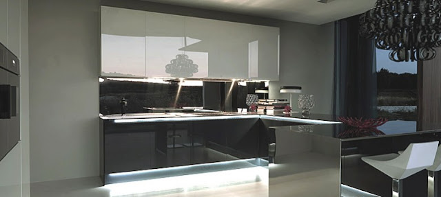 Cuisine en verre gris anthracite et blanc. Cuisine moderne design extra brillante