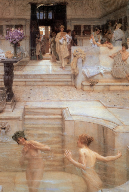 Sir Lawrence Alma Tadema,greek girls,pool