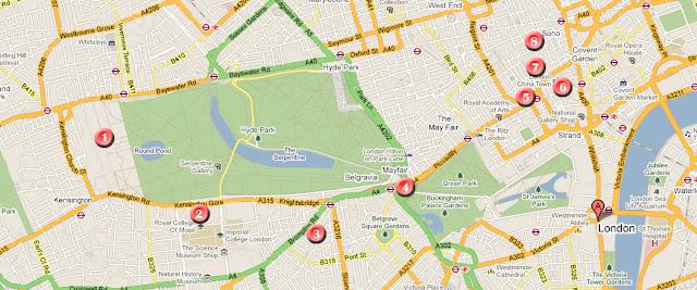 Mapa de la ruta por Londres, día 1