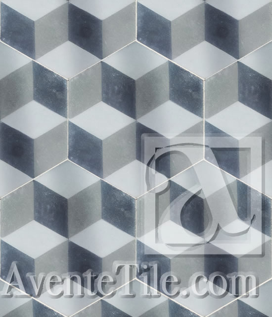 Avente tile talk hexagon cement tile patterned and plain geometric cube a 8 hexagon cement tile avente tile ppazfo