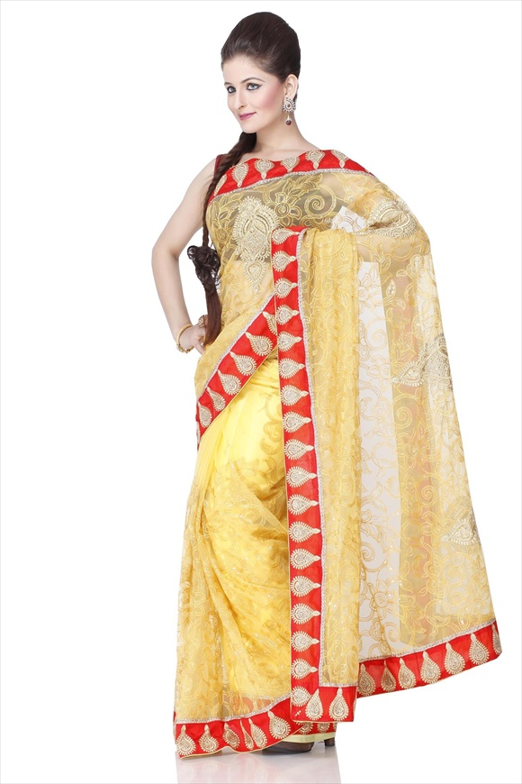 beautiful LEMON NET SAREE