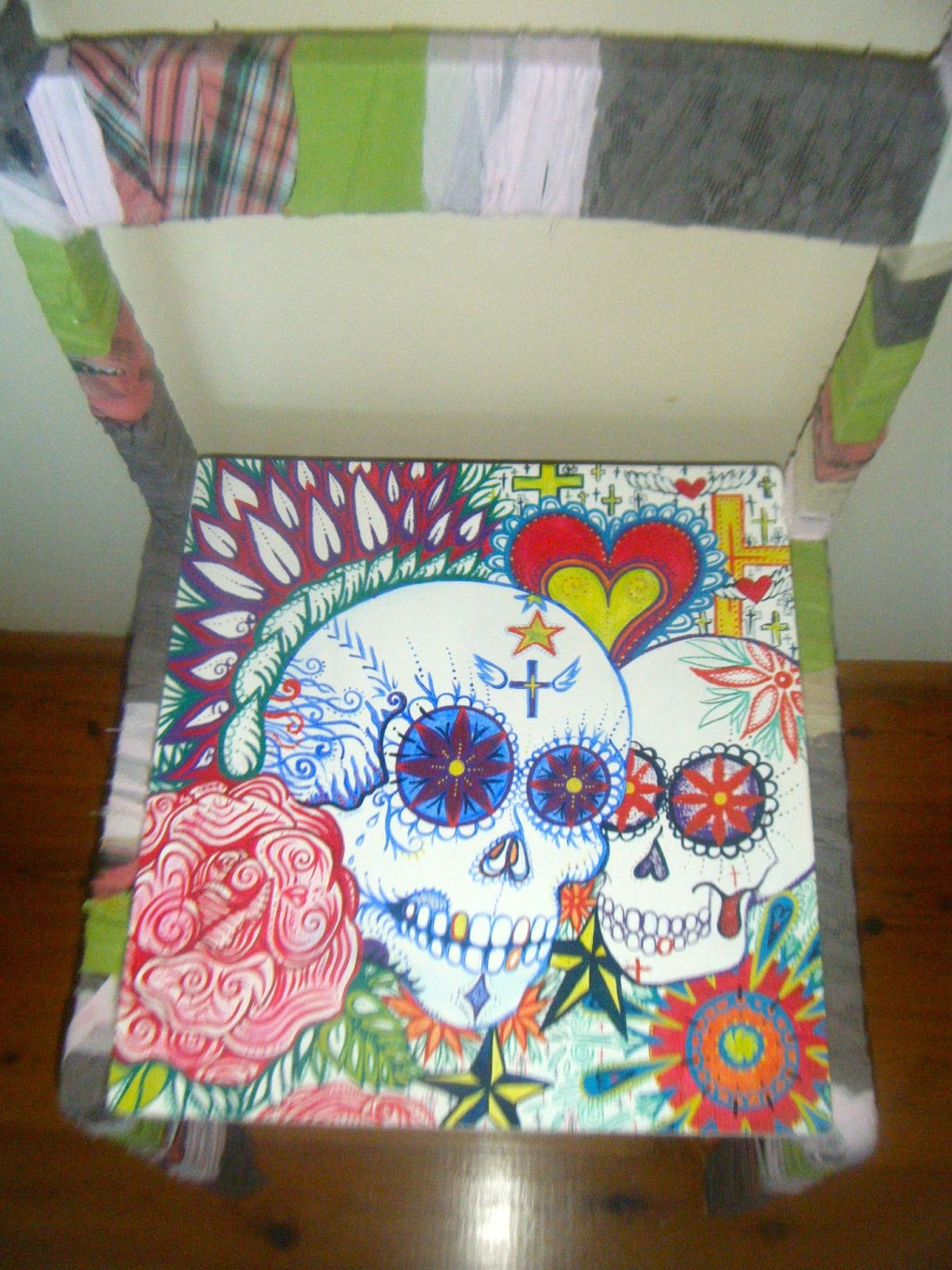 Charmant Set Of Sugar Skull Hand Painted Chairs