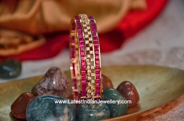 Handmade Diamond Ruby Bangle