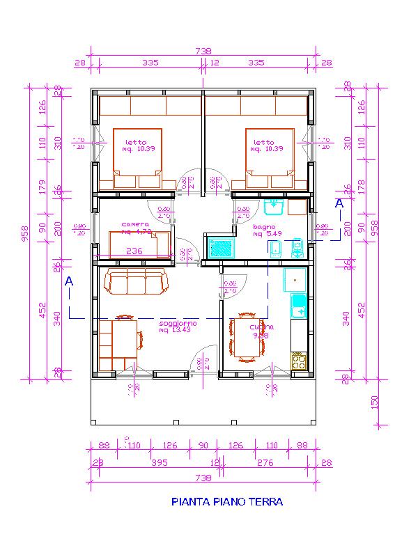 Progetti di case in legno casa 71 mq for Progetti di casa sollevati