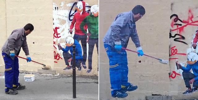 Popkulturelle StreetArt von Combo | Wenn der Graffiti-Cleaner zum Motiv wird ( 6 Pics ) - Atomlabor Blog