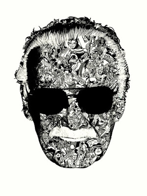 "Stan Lee ""Man of Many Faces"" Black and White Variant Screen Print by Raid71"