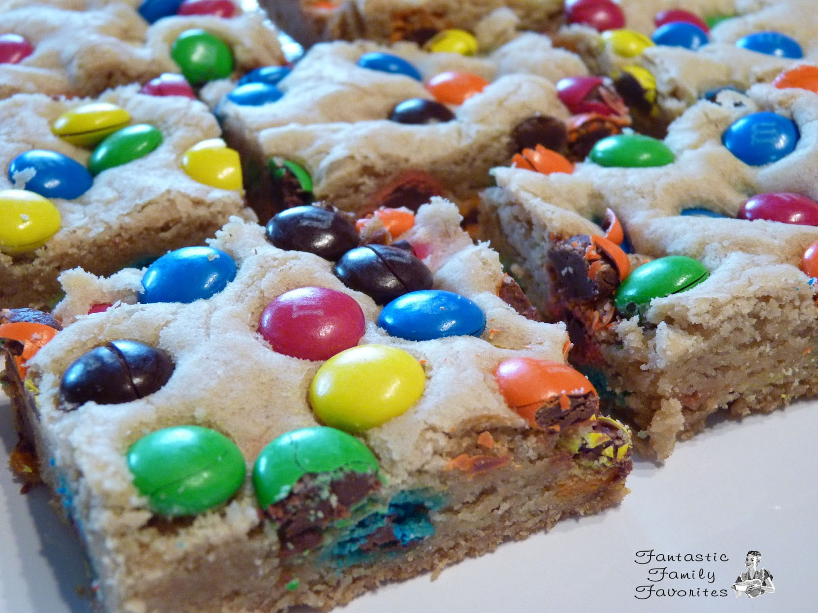 Fantastic Family Favorites Thick and Chewy M&M Cookie Bars