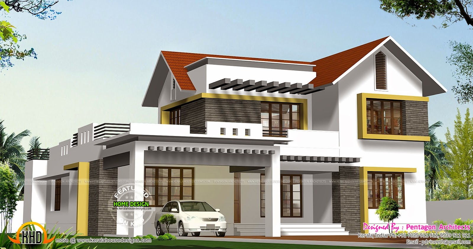 9 beautiful kerala houses by pentagon architects kerala for Pentagon house plans