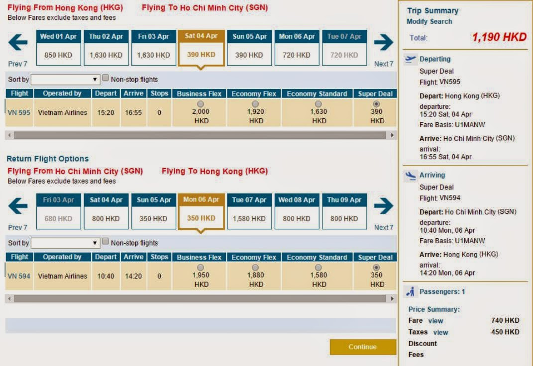 vietnam airlines香港往來胡志明市 $740起(連稅$1,190)